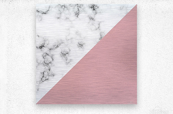 ABSTRACT MODERN ROSE GLASS MARBLE  Metal print
