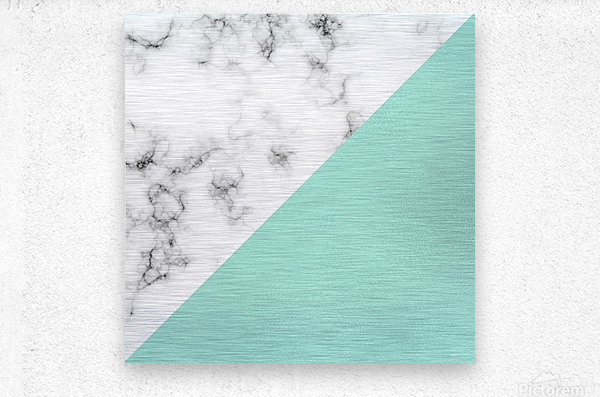 ABSTRACT MODERN TURQUOISE GLASS MARBLE  Metal print