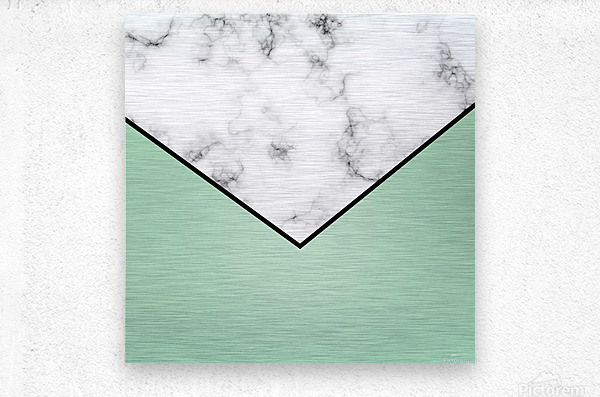 ABSTRACT GREEN PASTEL MODERN MARBLE  Metal print