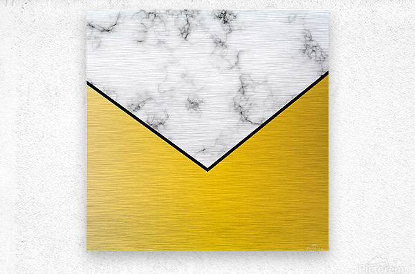 ABSTRACT YELLOW PASTEL MODERN MARBLE  Metal print