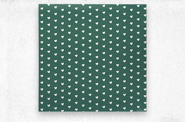 HUNTER GREEN Heart Shape Pattern  Metal print