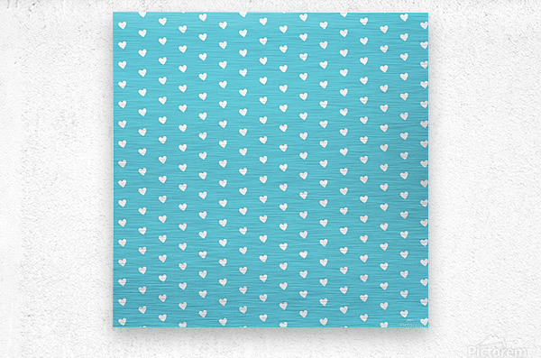 Sweet Light Blue Heart Shape Pattern  Metal print