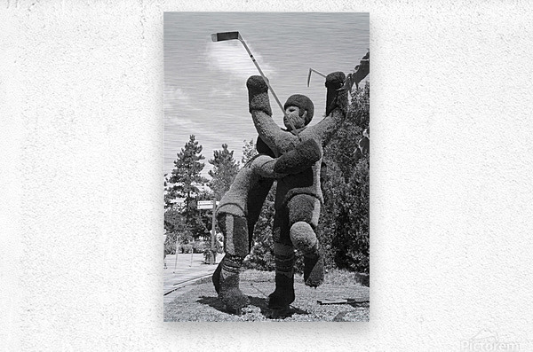 The winning goal in the 72 Canada Russia Hockey series b&w  Metal print
