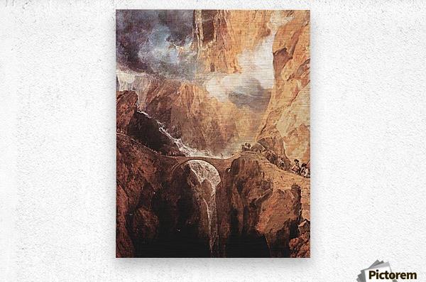 The Devils Bridge St. Gotthard by Joseph Mallord Turner  Metal print