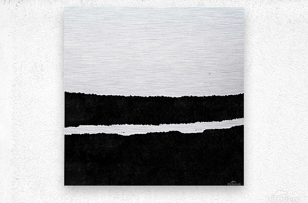 Black White Minimal Abstract Painting Nr.102  Metal print