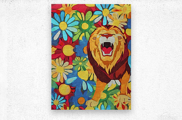 Lion and Flowers Fantasy   Metal print