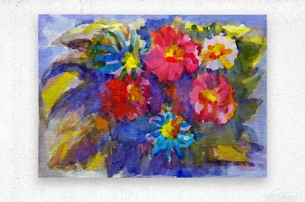 Vivid flowers in the garden   Metal print