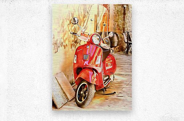 The Red Vespa  Metal print