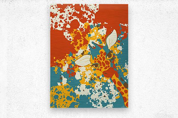 Cute Giraffe Abstract  Metal print