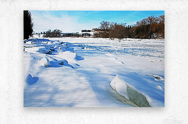 Frazil Ice On The Grand River West Montrose  Metal print