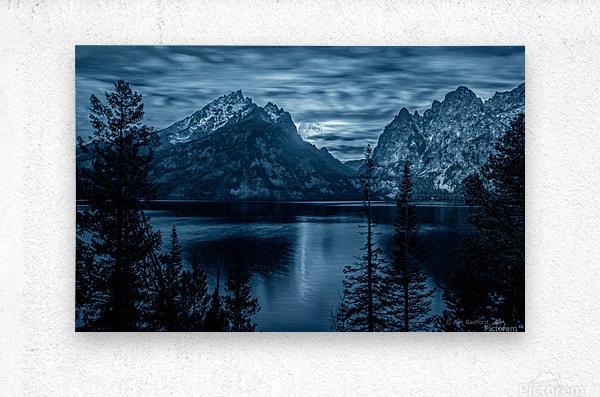 Moon over Jenny Lake  Metal print