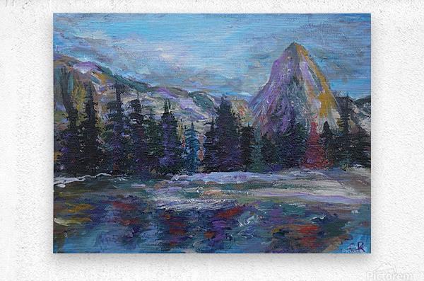 Lone Eagle Peak reflected in Mirror Lake Indian Peaks Wilderness  Metal print