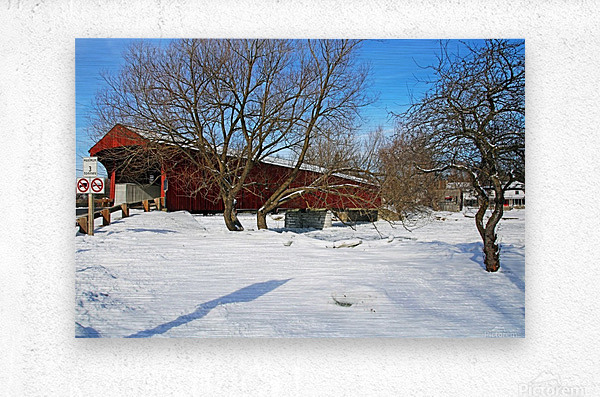 West Montrose Covered Bridge No Trucks No Buses  Metal print