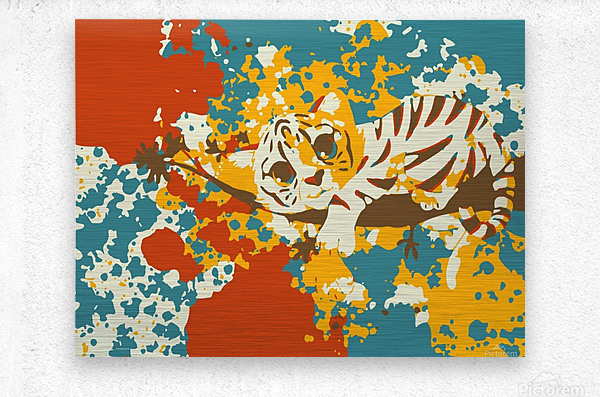 Little Tiger Abstract   Metal print