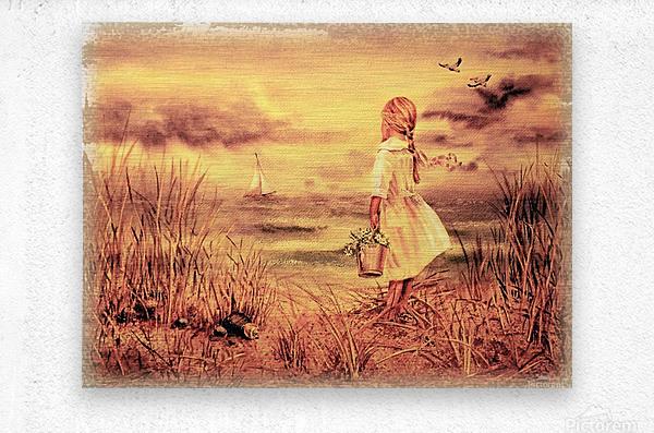 Vintage Watercolor Painting Girl And Ocean  Metal print