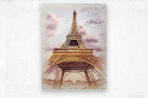 Vintage Paris Eiffel Tower Watercolor Painting  Metal print