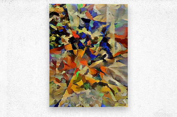 Abstract Painting with Geometric Figures  Metal print