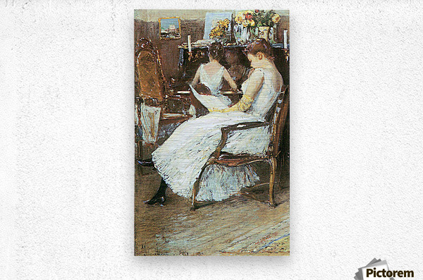 Mrs. Hassam and her sister by Hassam  Metal print