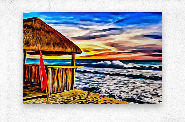 Beach Hut and Stormy Sea in Oil  Metal print