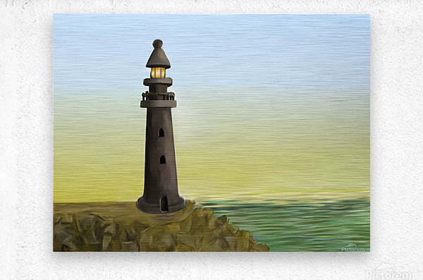 Sunset with Lighthouse  Metal print