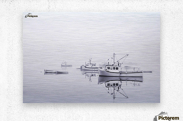 New Brunswick  Boats in the Mist  Metal print