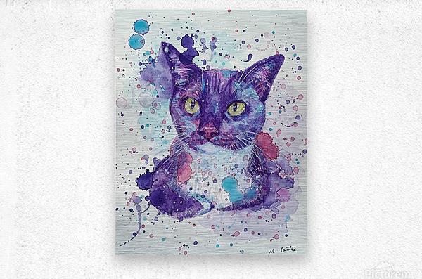 Tuxedo Cat - Portrait of Flash  Metal print