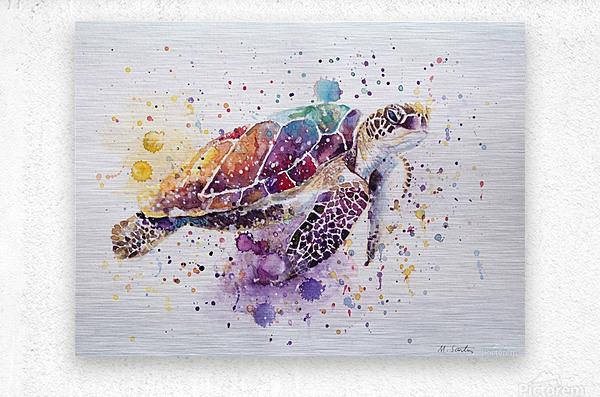 Rainbow Sea Turtle  Metal print