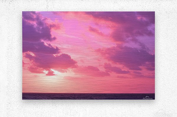 Sunset over the Sea - Shades of Pink  Metal print