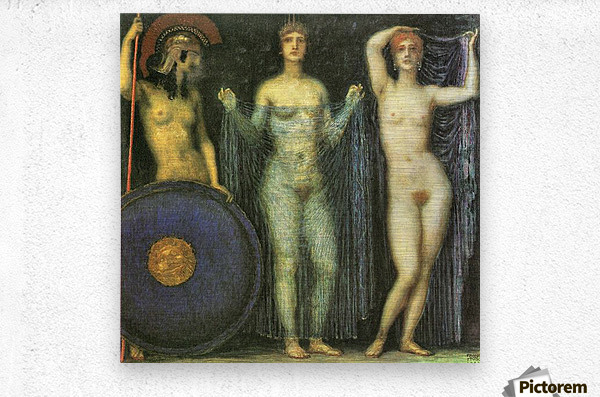 The three Goddesses Athena, Hera and Aphrodite by Franz von Stuck  Metal print