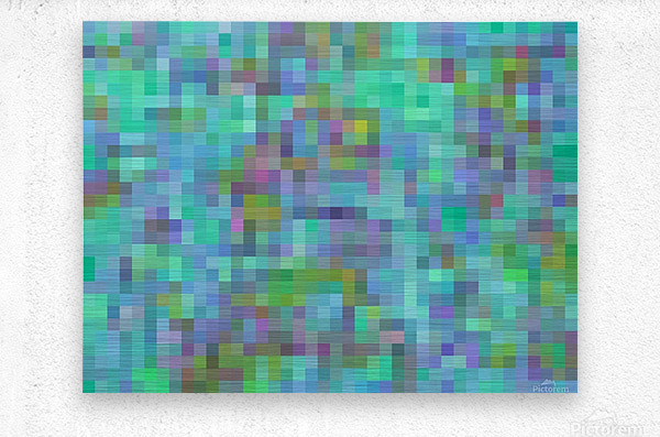 geometric square pixel pattern abstract in green blue pink  Metal print