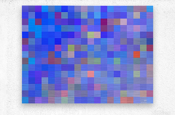 geometric square pixel pattern abstract in blue and pink  Metal print