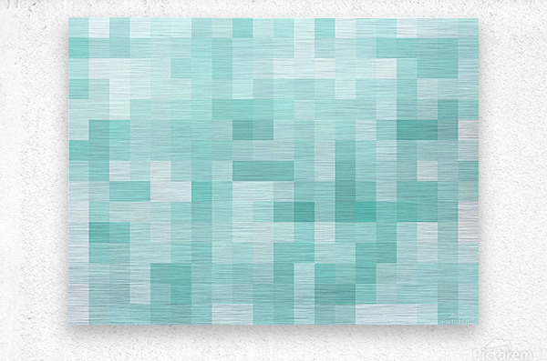 geometric square pixel pattern abstract in green  Metal print