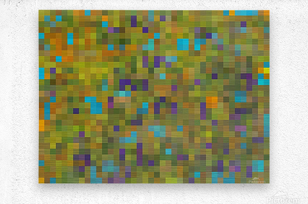 geometric square pixel pattern abstract in green yellow blue purple  Metal print