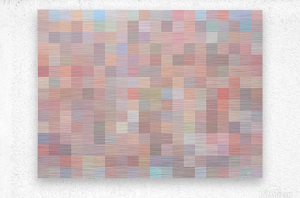 geometric square pixel pattern abstract in pink and blue  Metal print