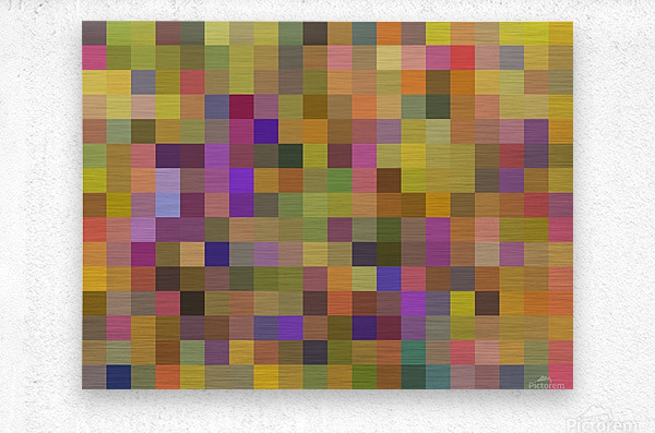 geometric square pixel pattern abstract in yellow green purple  Metal print