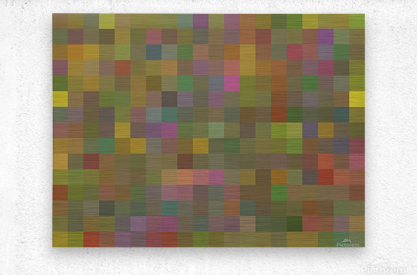 geometric square pixel pattern abstract in green pink yellow  Metal print
