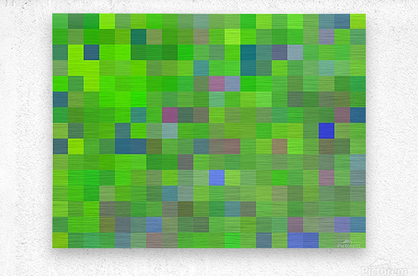 geometric square pixel pattern abstract background in green blue pink  Metal print