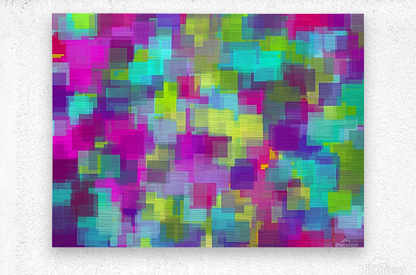 geometric square pattern abstract background in pink yellow blue  Metal print