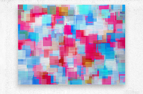 geometric square pattern abstract background in pink and blue  Metal print