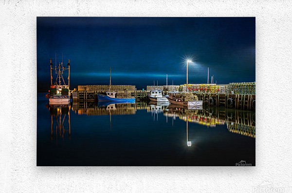 NIGHT TIME AT THE WHARF with textures  Metal print
