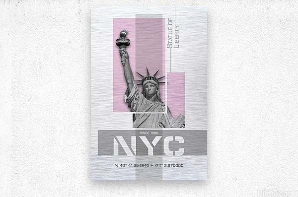 Poster Art NYC Statue of Liberty | light pink  Metal print