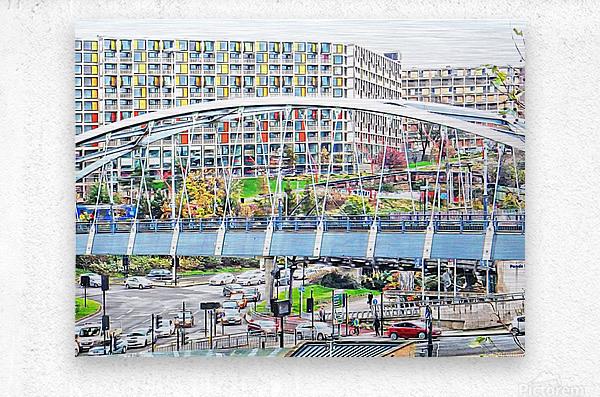 Park Square Bridge Sheffield  Metal print