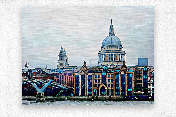Millennium Bridge to St Pauls Cathedral London  Metal print