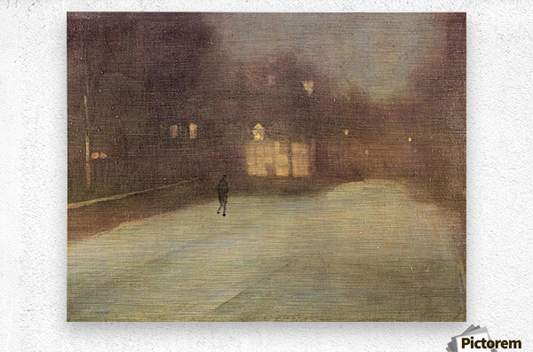 Nocturne in gray and gold, snow in Chelsea by James Abbot McNeill Whistler  Metal print