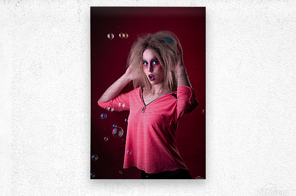 Attractive young girl with disheveled hair   Metal print
