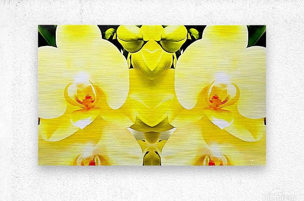 Yellow Orchid Pattern  Metal print