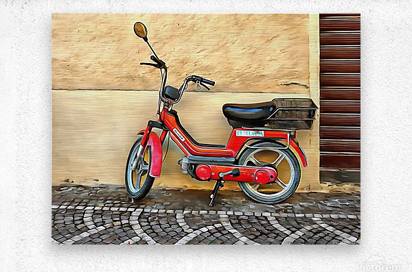 Red Piaggio Moped  Metal print