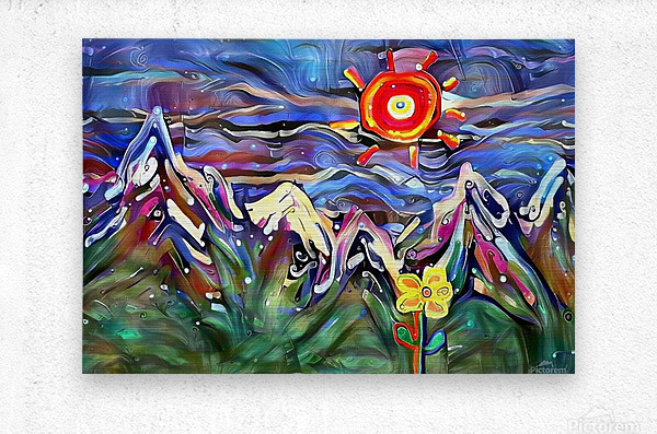 Mountain Landscape with Flowers  Metal print