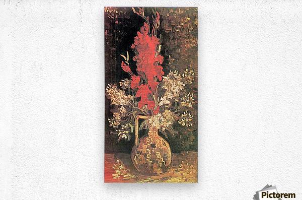 Vase with Gladiolas and Carnations by Van Gogh  Metal print