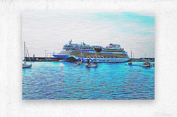 Cruise Liner Docked In Funchal Madeira  Metal print